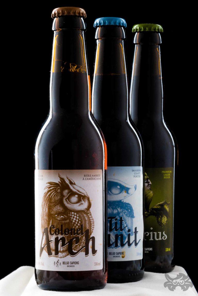 Packshot de bières (Colonel Arch, P'tit Granit & Polarius, Belgo Sapiens - http://belgosapiens.be )