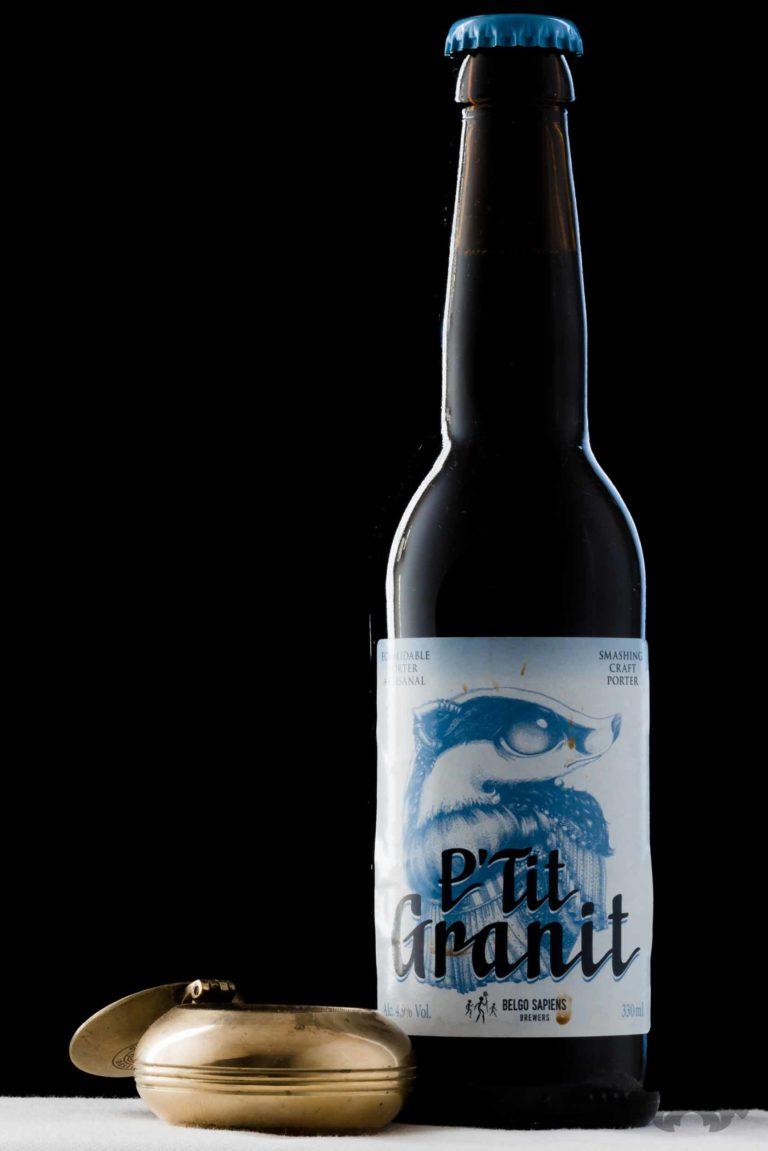 Packshot de bières (P'tit Granit, Belgo Sapiens - http://belgosapiens.be )