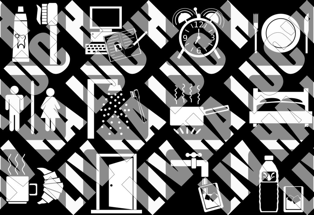 Set d'icones d'activités quotidiennes (bibliothèque d'illustrations : réveil, douche, toilette...)