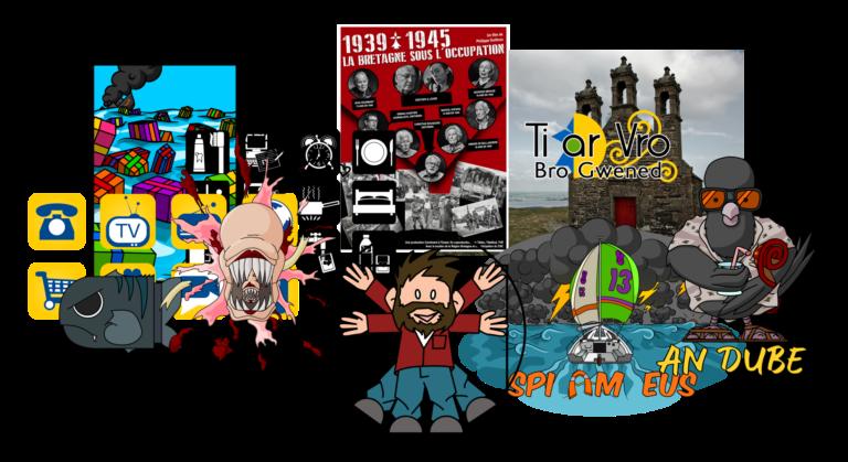 Illustration présentant les travaux de créations graphiques (logos, t-shirts en breton, affiches...) proposés par Liv ha Luc'h / Baptiste Leroy à Vannes, Morbihan, Bretagne