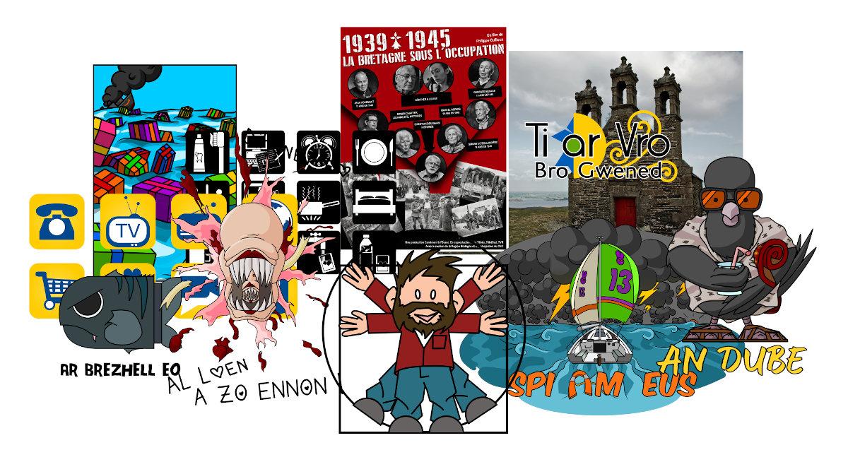 Illustration présentant les travaux de créations graphiques proposés par Liv ha Luc'h